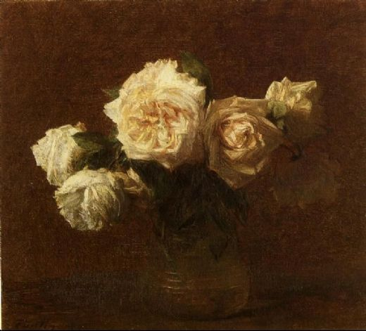 henri fantin-latour henri fantin latour yellow pink roses in a glass vase paintings