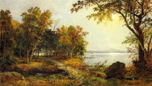 jasper francis cropsey a cabin on greenwood lake paintings