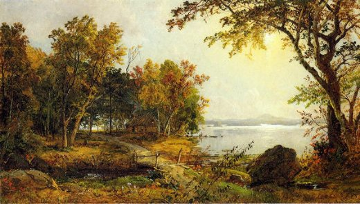 jasper francis cropsey a cabin on greenwood lake painting
