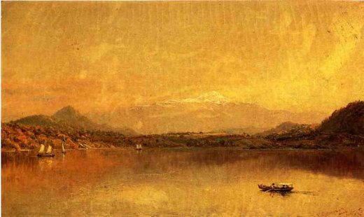 jasper francis cropsey autumn landscape with boaters on a lake painting