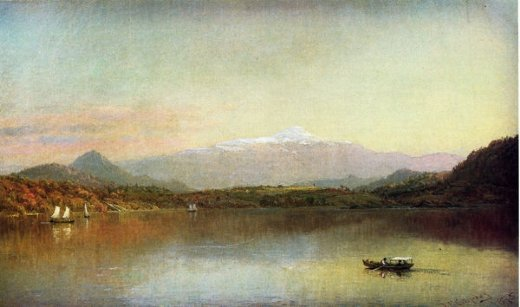jasper francis cropsey boaters on a lake painting
