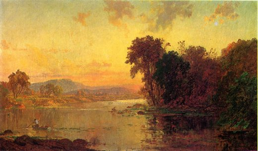 jasper francis cropsey fisherman in autumn landscape painting