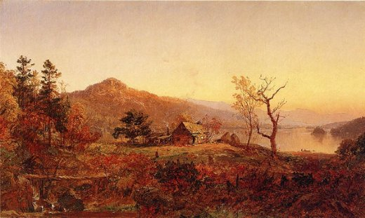 jasper francis cropsey fisherman s hut greenwood lake painting
