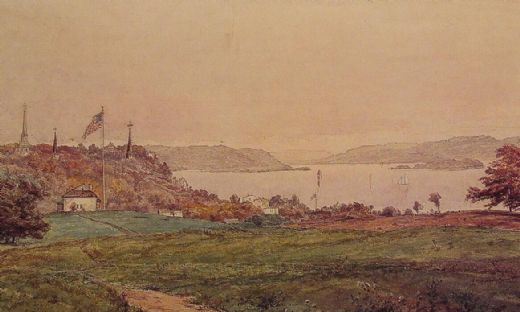 jasper francis cropsey looking north on the hudson painting