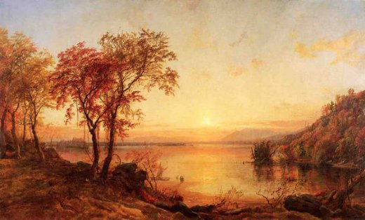 jasper francis cropsey sunset at greenwood lake painting