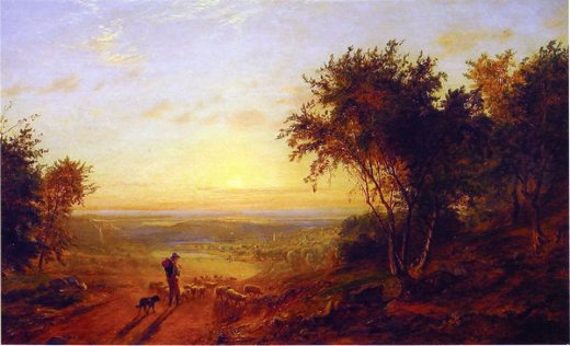 jasper francis cropsey the return home landscape with shepherd and sheep paintings