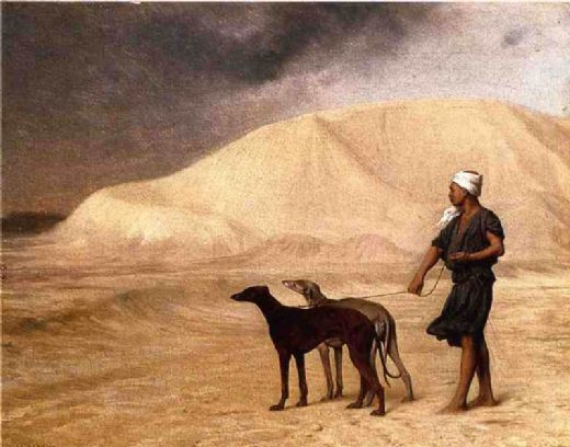 jean leon gerome team of dogs in the desert painting