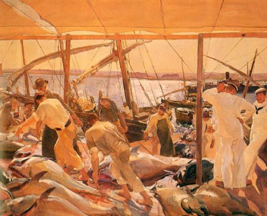 joaquin sorolla y bastida the tuna catch ayamonte paintings