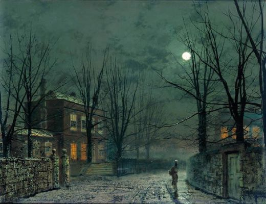 john atkinson grimshaw the old hall under moonlight paintings