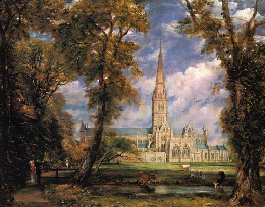 john constable salisbury cathedral from the bishops grounds painting