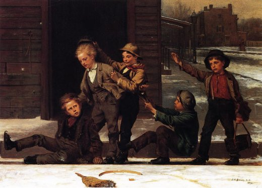 john george brown winter sports in the gutter paintings