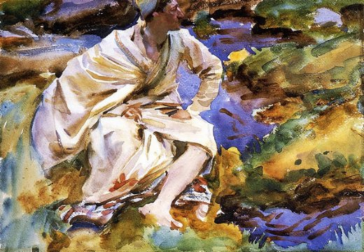 john singer sargent a man seated by a stream val d aosta pertud paintings