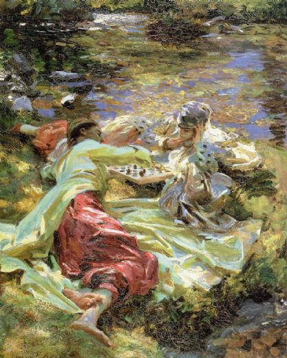 john singer sargent the chess game painting