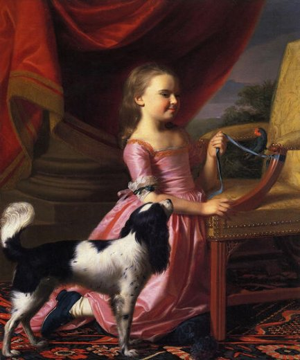 john singleton copley young lady with a bird and dog painting