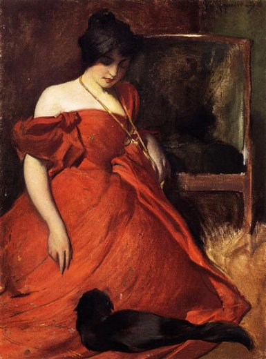 john white alexander black and red painting