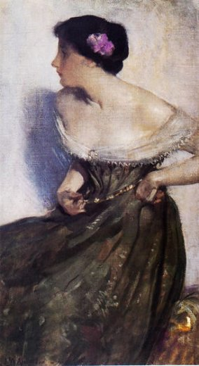 john white alexander portrait of a lady painting