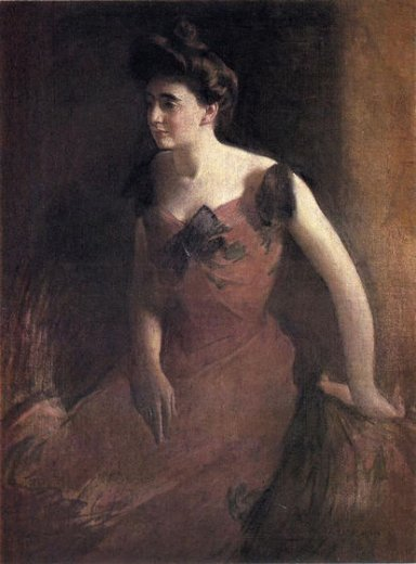 john white alexander woman in a red dress paintings