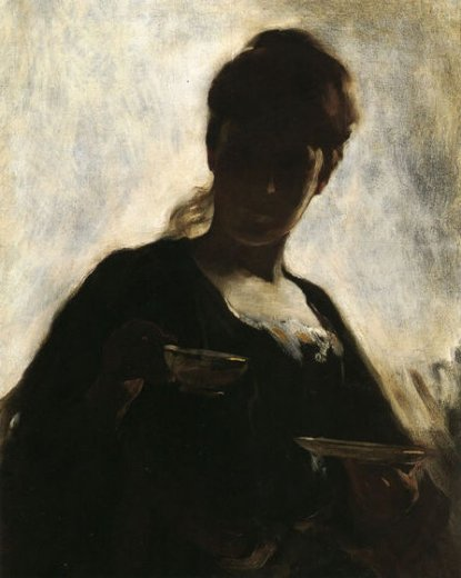 john white alexander woman with a tea cup painting