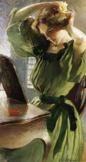 john white alexander young woman arranging her hair painting