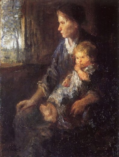 jozef israels on mothers lap painting