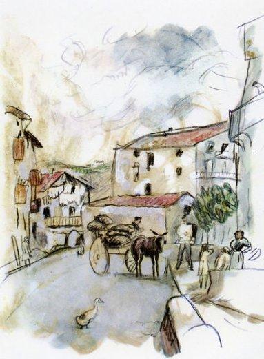 jules pascin village scene painting - jules pascin village ...