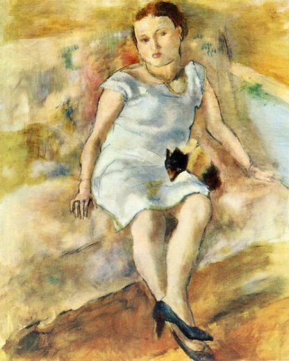 jules pascin young woman with a little dog painting