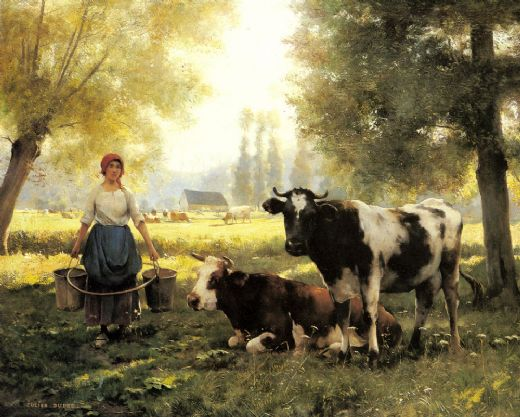 julien dupre a milkmaid with her cows on a summer day painting