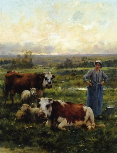 julien dupre a shepherdess with cows and sheep in a landscape painting