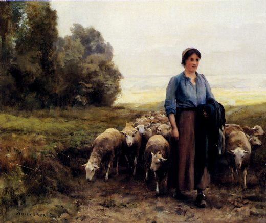 julien dupre shepherdess with her flock painting