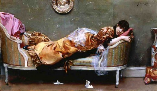 julius leblanc stewart reclining woman painting