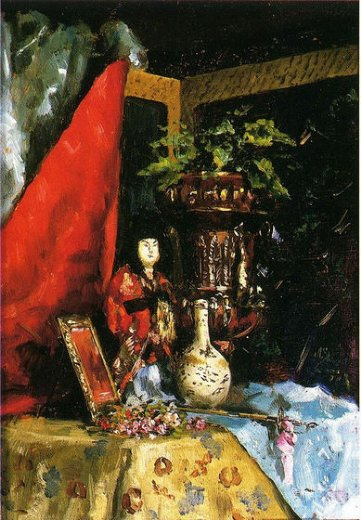 julius leblanc stewart still life with asian objects paintings