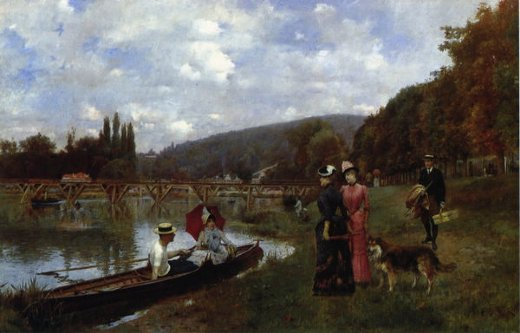 julius leblanc stewart the seine at bougival painting