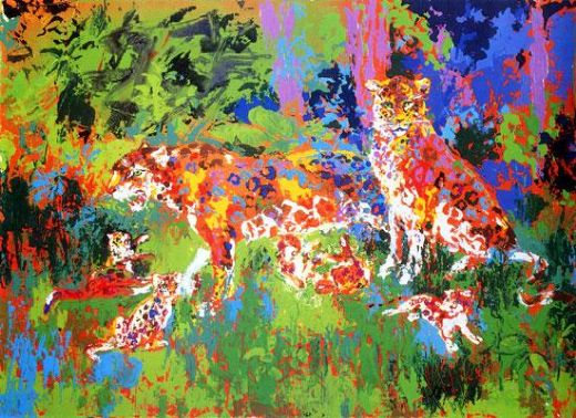 leroy neiman jaguar family painting