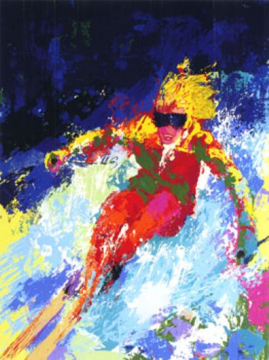 leroy neiman lady skier painting