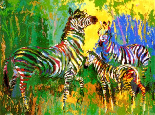 leroy neiman zebra family paintings