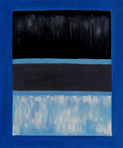 mark rothko white and black in blue painting
