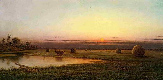 martin johnson heade sunset on the rowley marshes painting