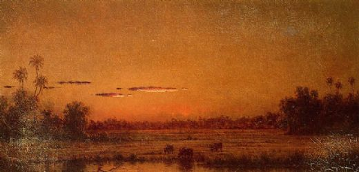 martin johnson heade sunset with group of palms painting