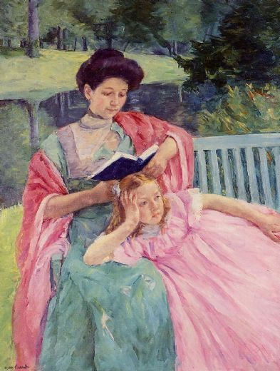 mary cassatt auguste reading to her daughter paintings