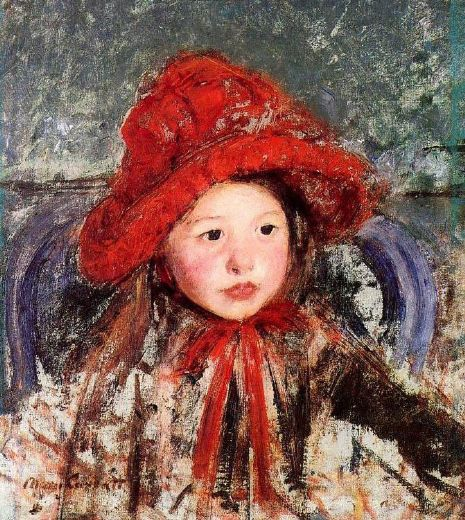 mary cassatt little girl in a large red hat paintings