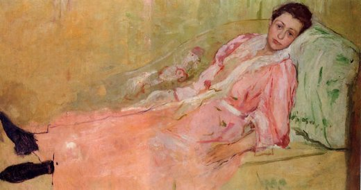 mary cassatt lydia reading on a divan painting