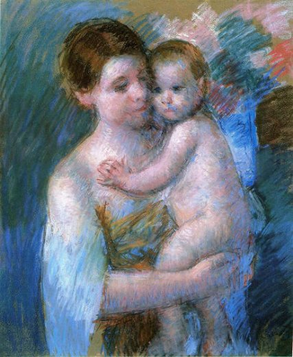mary cassatt mother holding her baby oil painting