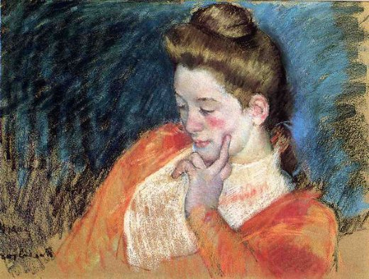 mary cassatt portrait of a young woman painting
