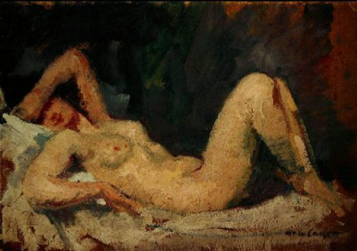 mary cassatt reclining nude painting