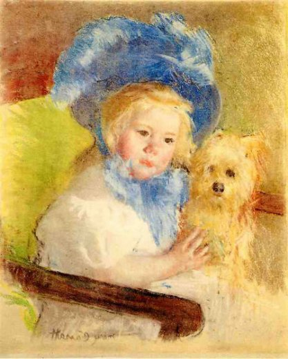 mary cassatt simone in a large plumed hat seated holding a griffon dog painting