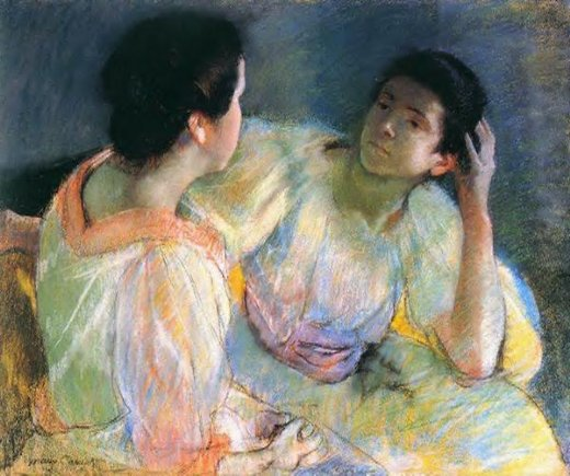 mary cassatt the conversation oil painting