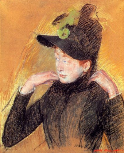 mary cassatt woman arranging her veil painting