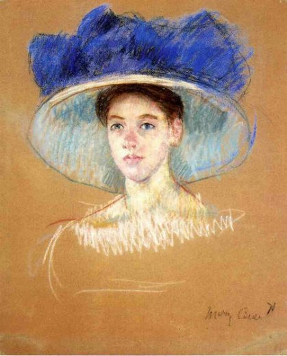 mary cassatt woman s head with large hat ii painting