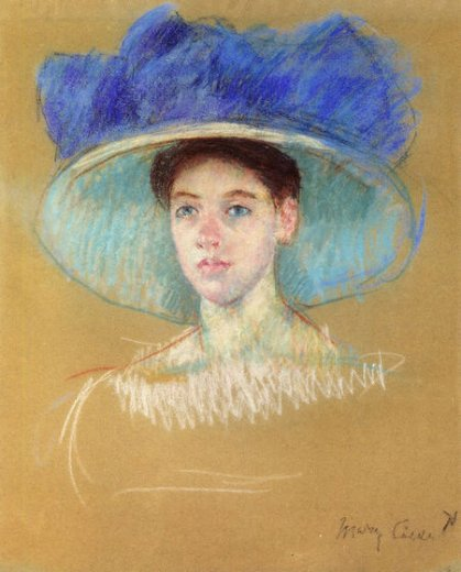 mary cassatt woman s head with large hat paintings