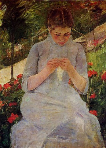 mary cassatt young woman sewing in a garden painting